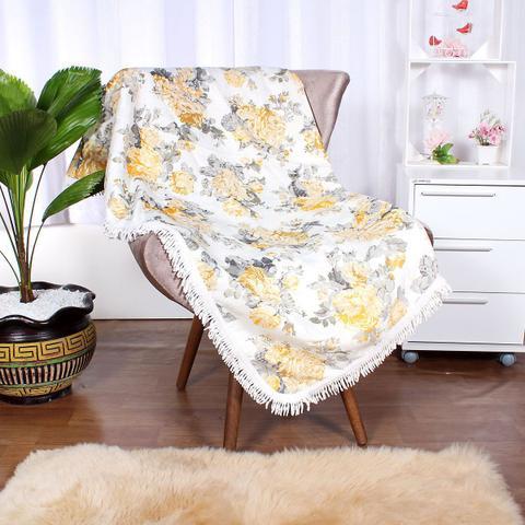 Imagem de Manda para Sofá Floral Amarela 1,50m x 1,50m Jacquard