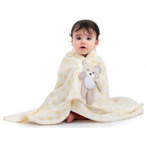 Imagem de Manta Bebê Cobertor Infantil Amarela