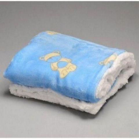 Imagem de Manta Bebê Cobertor Infantil Microfibra Com Sherpa Azul