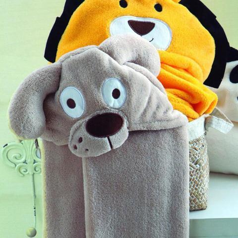Imagem de manta de microfibra baby jolitex com capuz de cãozinho bege
