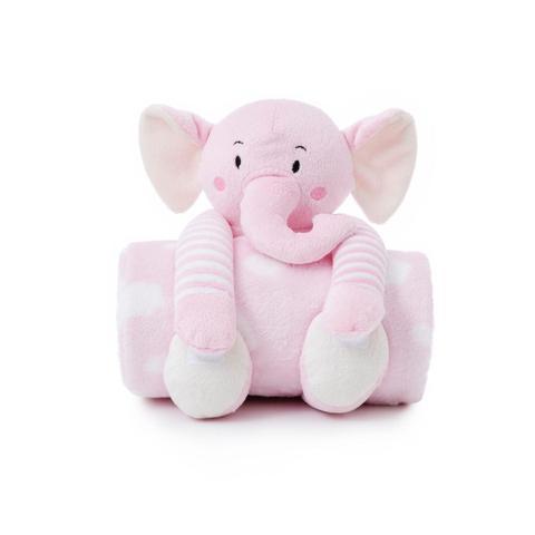Imagem de Manta Microfibra + Elefantinho de Pelúcia Para Bebês - Rosa - Loani