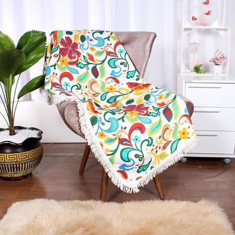 Imagem de Manta para Sofá Colorida Jacquard 1,50m x 1,50m Quadrada