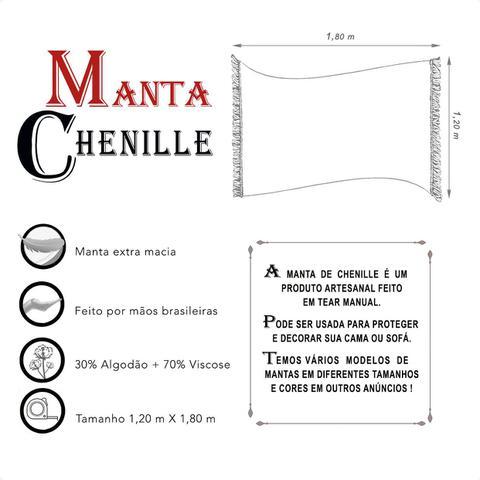 Imagem de Manta Xale de Chenille com Franja 1,20m x  x 1,80m Macia Decorativa Sofá Gingante e Poltrona