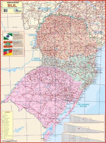 Imagem de Mapa Geopolítico Da Região Sul Do Brasil Rodoviário Turístico e Estatístico 120X90 CM