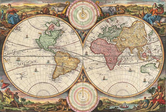 Imagem de Mapa Mundi Antigo 1731 - Tela 30x44 Para Quadro
