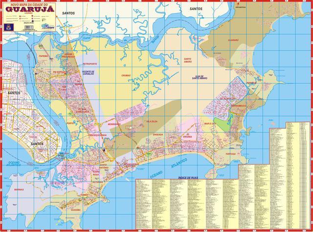 Imagem de Mapa Político E Rodoviário Da Cidade Do Guarujá Gigante 120X90 CM
