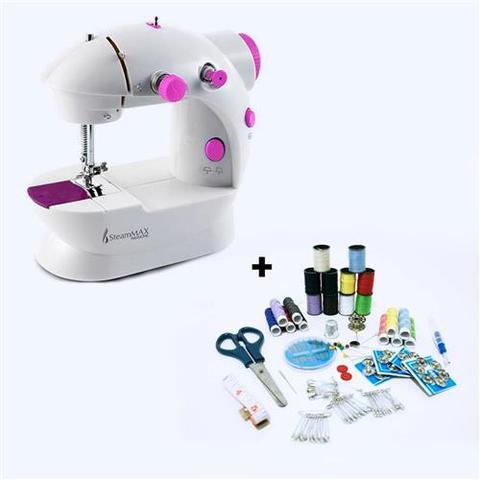 Imagem de Máquina de Costura Compacta SteamMax MaxHome SM-500 Bivolt + Kit de Costura 100 Peças Steam Max
