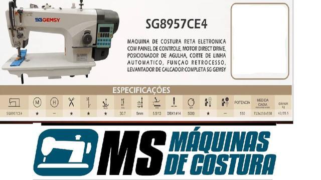 Imagem de Máquina de Costura Industrial Reta Eletrônica c/ Direct Drive, 1 Agulha, 2 Fios, Corte de Linha, Transp. Simples, Lubrif. Automática, SG8957CE4