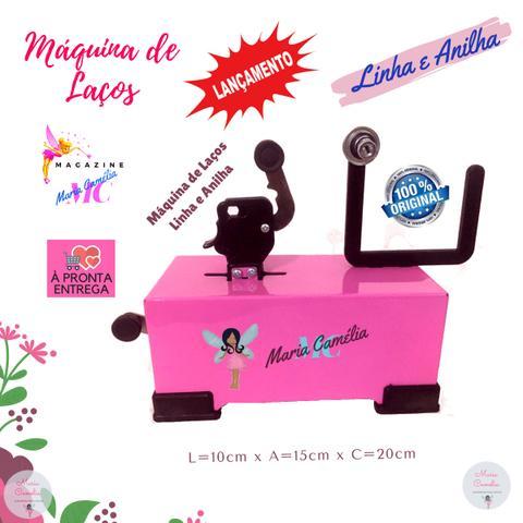 Imagem de Máquina de Fazer Laços com Máquina de Cortar Fita e Fuxico Cor Rosa com Elásticos PET
