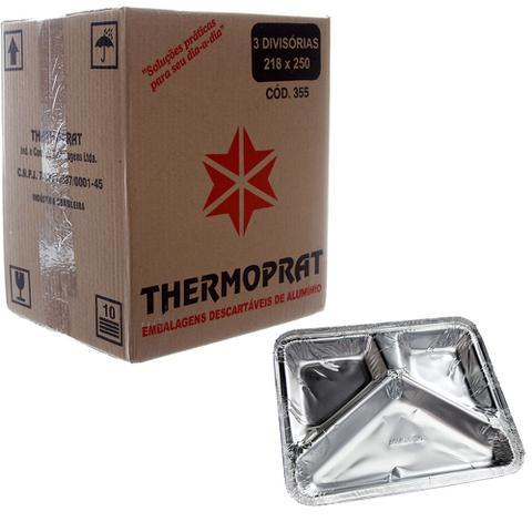 Imagem de Marmitex de Alumínio com 3 Divisões e Tampa - 900ml Caixa com 100un Thermoprat