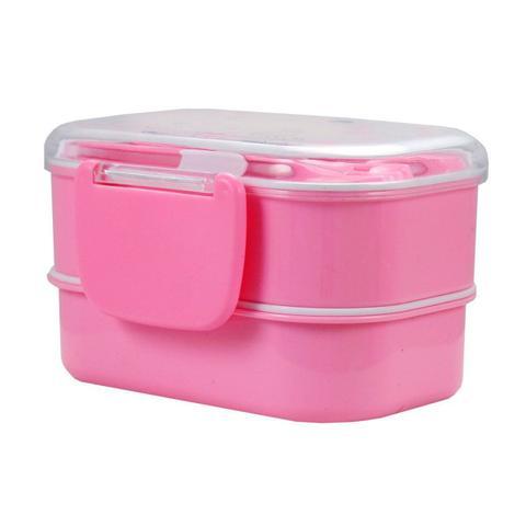 Imagem de Marmitinha com 2 Andares Para Lanche Escolar hello rosa