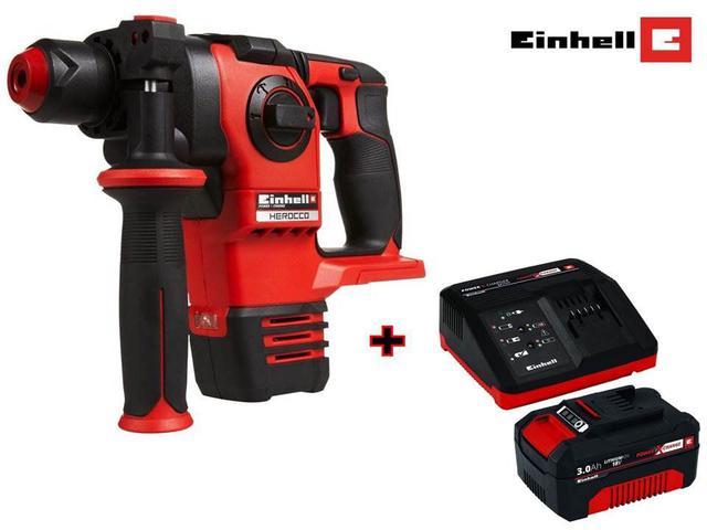 Imagem de Martelete Rotativo Herocco Einhell Á Bateria Solo Brushless  + Kit Bateria 18v 3,0Ah e Carregador