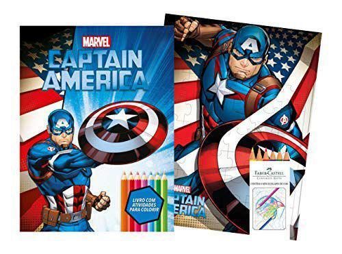 Imagem de Marvel kit diversao - captain america com quebra-cabeca e lapis de cor