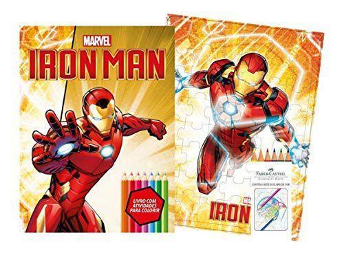Imagem de Marvel kit diversao - ironman com quebra-cabeca e lapis de cor