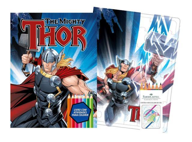 Imagem de Marvel kit diversao - thor com quebra-cabeca e lapis de cor