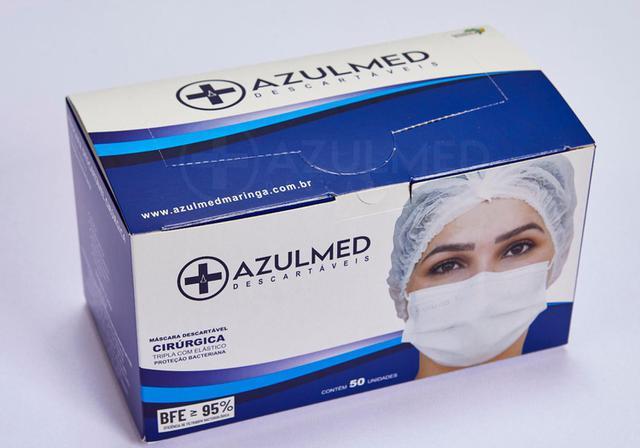 Imagem de Máscara Cirúrgica Descartável Tripla Camada Azulmed - Caixa 50 unds