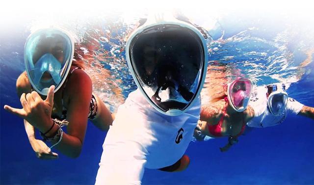 Imagem de Máscara de Mergulho Livre Snorkeling Full Face Com Suporte Para Câmera GoPro Tamanho S/M Cor Preto
