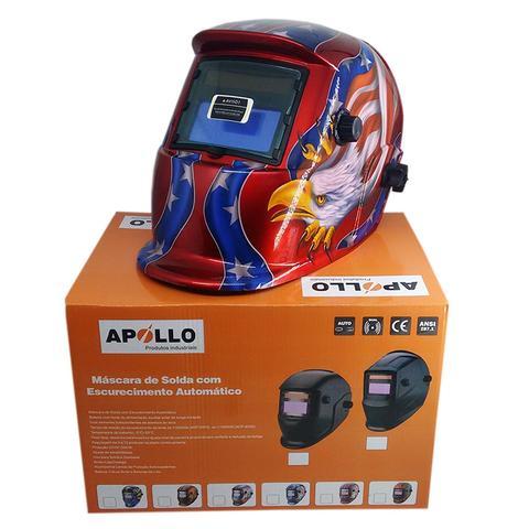 Imagem de Mascara De Solda Eletronica Com Regulagem 9 A 13 Arte Bandeira Americana - 0000160 - Apollo