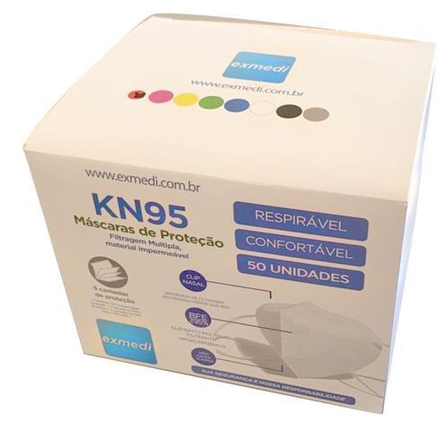 Imagem de Máscara KN95 / PFF2 / N95 adulto branca - 50 unidades 5 camadas - dupla camada de meltblow BFE 98% + tnt spunbond hospitalar hipoalergenico