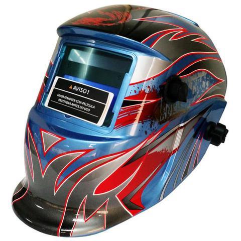 Imagem de Máscara para Solda com Escurecimento Automático de 9 a 13 Modelo Cinza/Vermelho EVALD / APOLLO