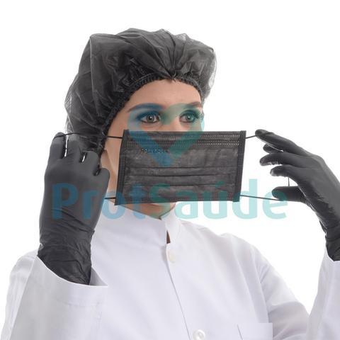 Imagem de Máscara Tripla Proteção Bacteriana com Elástico Protdesc Black  50 unid
