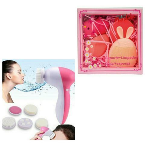 Imagem de Massageador Elétrico Cuidados De Beleza Rosto Limpador 5 em 1 + 3 esponjas corretivo base + 1 esfoliador facial Rugas