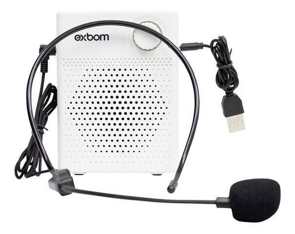 Imagem de Megafone Amplificador De Voz Microfone Bluetooth Exbom Usb - Branco