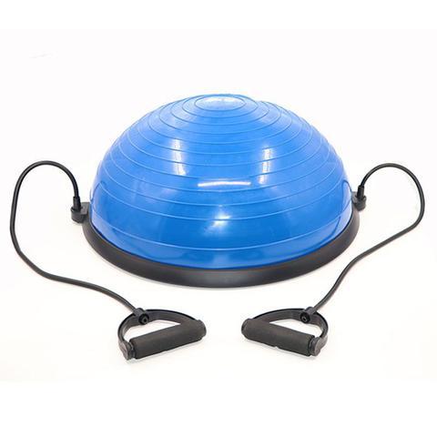Imagem de Meia Bola Bosu Suiça Ball Com Alças Extensores E Bomba De Encher Pilates Yoga - Azul