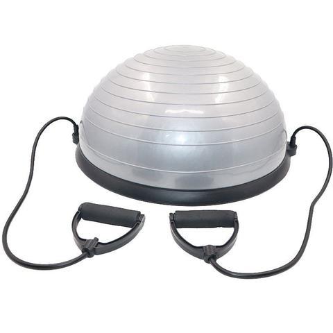 Imagem de Meia Bola de Equilibrio Suiça Ball Com Alças Extensores E Bomba De Encher Pilates Yoga - Cinza