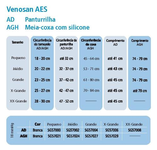 Imagem de Meia Venosan AES Antiembolia Esterilizada (18 mmhg) AGH - Meia-Coxa/ Branca/Semi-Aberta
