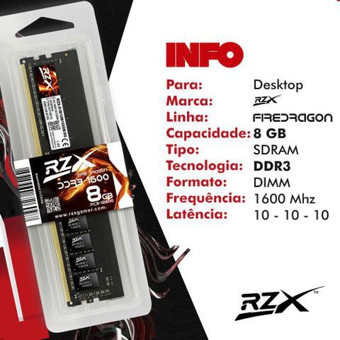 Imagem de Memória Para Desktop RZX 8GB DDR3 1600MHz 1.5V CL10 Original