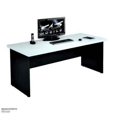 Imagem de Mesa 1.00x60 Para Escritório Escrivaninha AERO40 - KASMOBILE - BRANCO/PRETO