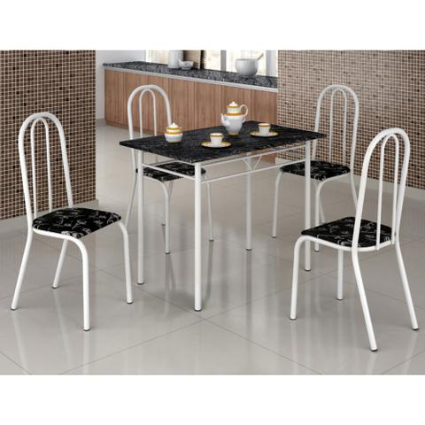 Imagem de Mesa com 4 Cadeiras Craqueadas Realeza Branca