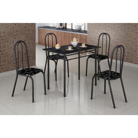 Imagem de Mesa com 4 Cadeiras Craqueadas Realeza Preta