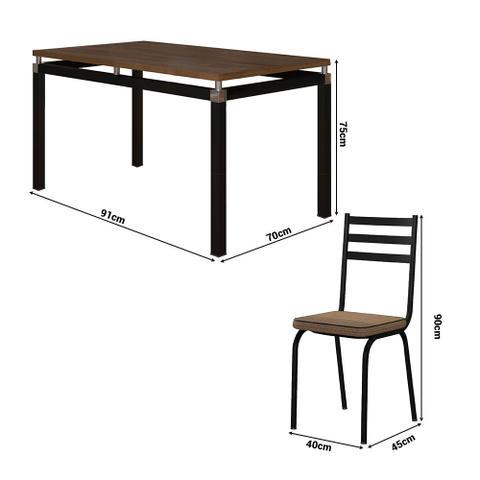 Imagem de Mesa com 4 cadeiras Para sala de jantar malva preto com tampo amadeirado