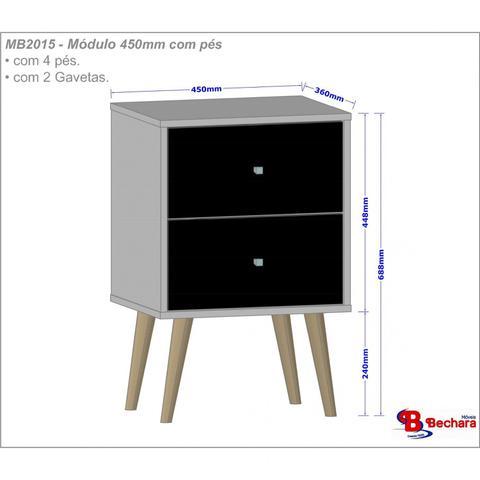 Imagem de Mesa de Cabeceira 2 Gavetas MB2015 Decor Móveis Bechara Off White