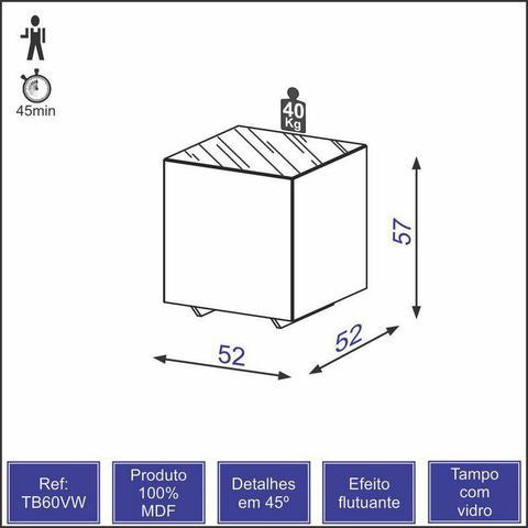 Imagem de Mesa de Canto em MDF com Tampo de Vidro - Natural