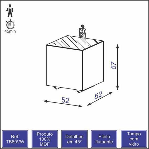 Imagem de Mesa de Canto em MDF com Tampo de Vidro - Nobre
