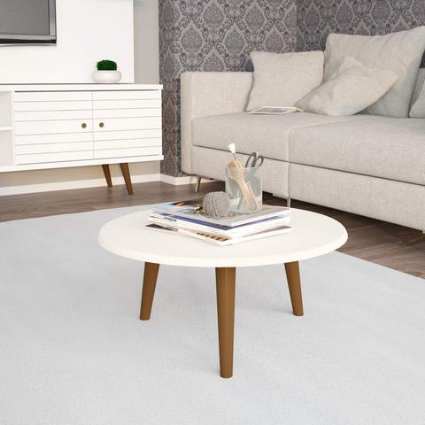 Imagem de Mesa de Centro Redonda Retrô Brilhante Decor Móveis Bechara Off White