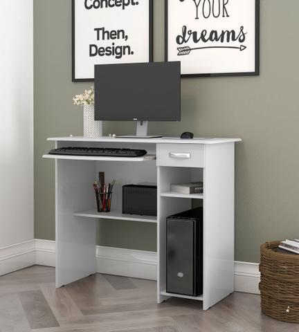 Imagem de Mesa de Computador Viena com Gaveta Branco - EJ Móveis