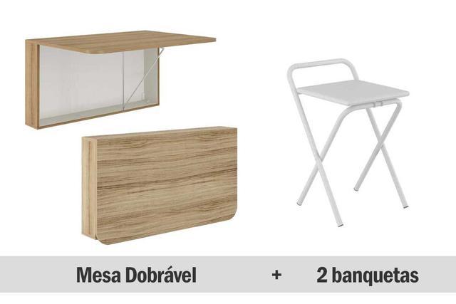 Imagem de Mesa de Cozinha Carraro-Mesa Dobrável 1540 Anis+2 Banquetas 1745 King 1,86x1,98