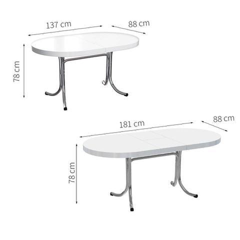 Imagem de Mesa de Cozinha Extensível Oval Mascavo Branca e Cinza 137 cm