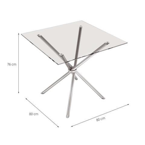 Imagem de Mesa de Cozinha Quadrada Knot Incolor e Cinza 80 cm