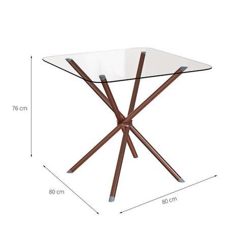 Imagem de Mesa de Cozinha Quadrada Knot Incolor e Rosé 80 cm