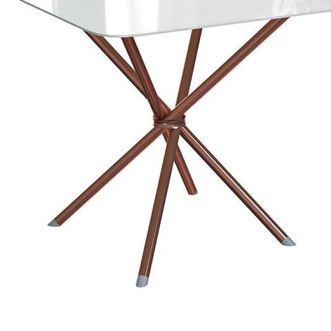 Imagem de Mesa de Cozinha Quadrada Knot Off White e Rosé 80 cm