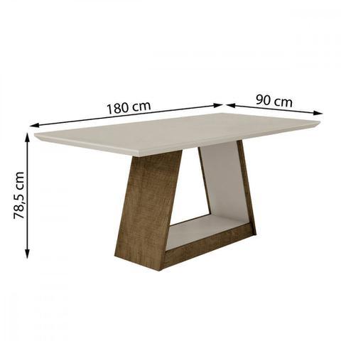 Imagem de Mesa de Jantar 180cm Tampo de Vidro Gênova Leifer Móveis