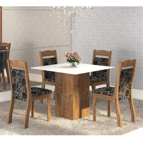 Imagem de Mesa de Jantar 4 Lugares Brilho Dover/Cobre/Branco - Mobilarte Móveis