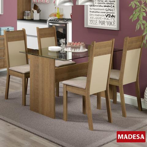 Imagem de Mesa de Jantar 4 Lugares Marina Rustic/Crema/Pérola