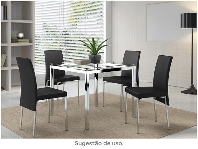 Imagem de Mesa de Jantar 4 Lugares Quadrada Tampo de Vidro