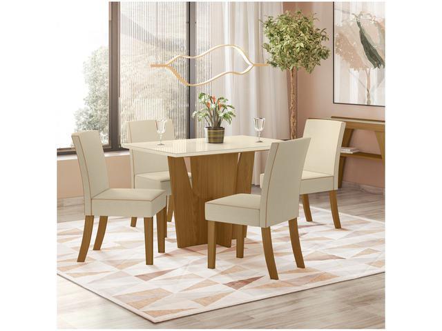 Imagem de Mesa de Jantar 4 Lugares Retangular Tampo de Vidro